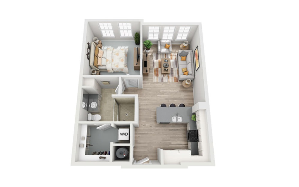 A1 - 1 bedroom floorplan layout with 1 bath and 750 square feet.