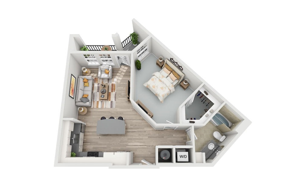 A2 - 1 bedroom floorplan layout with 1 bath and 786 square feet.