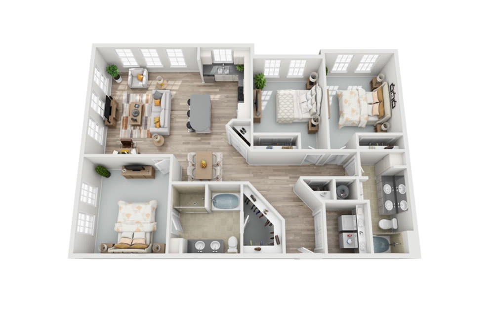 C1 - 3 bedroom floorplan layout with 2 baths and 1587 square feet.