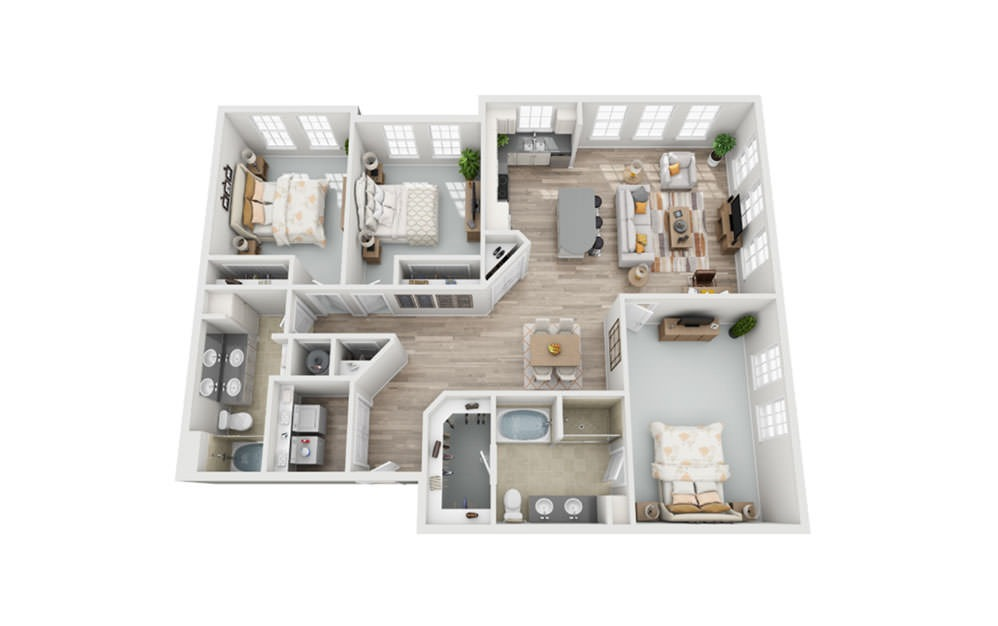 C2 - 3 bedroom floorplan layout with 2 baths and 1657 square feet.