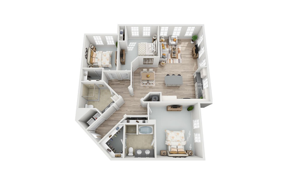 C3 - 3 bedroom floorplan layout with 2 baths and 1717 square feet.