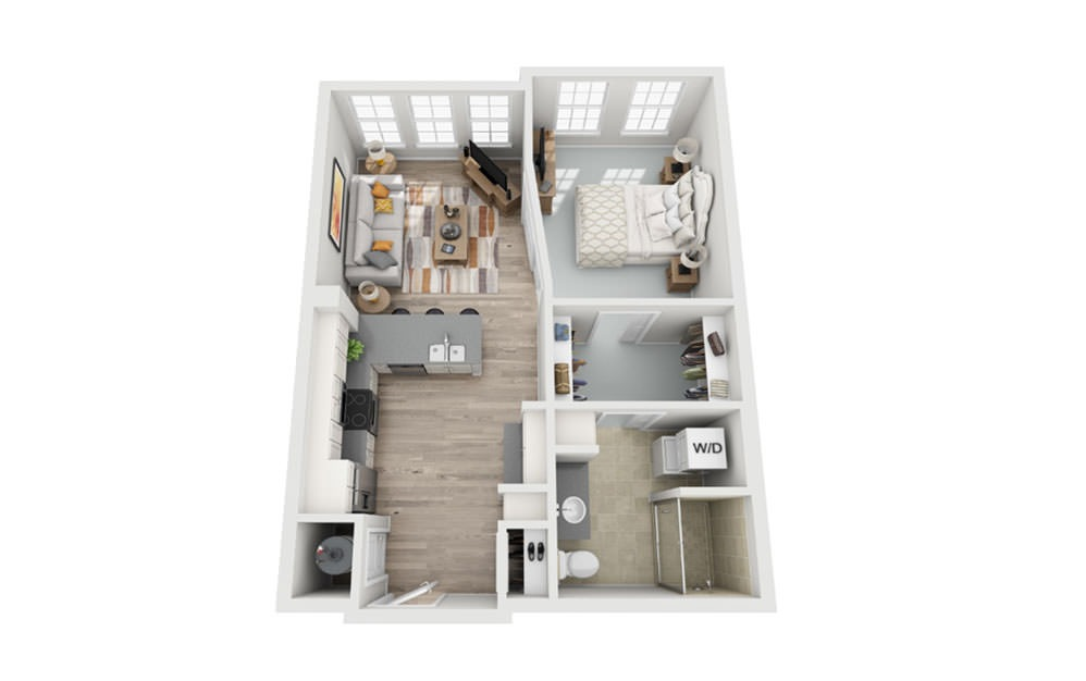 S1 - Studio floorplan layout with 1 bath and 688 square feet.
